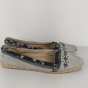 Shoes Beaded Leather wicker moccasin flats 6